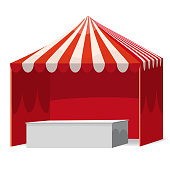 Stripped Promotional Outdoor Event Trade Show Pop-Up Red Tent With Counter Mobile Marquee. Mockup, Mock Up, Template. Illustration Isolated On White Background. Ready For Your Design. Product Advertising. Vector EPS10