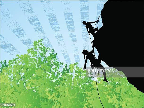 strive to achieve - rock climbing stock illustrations, clip art, cartoons, & icons
