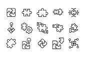 Stroke line icons set of solution.