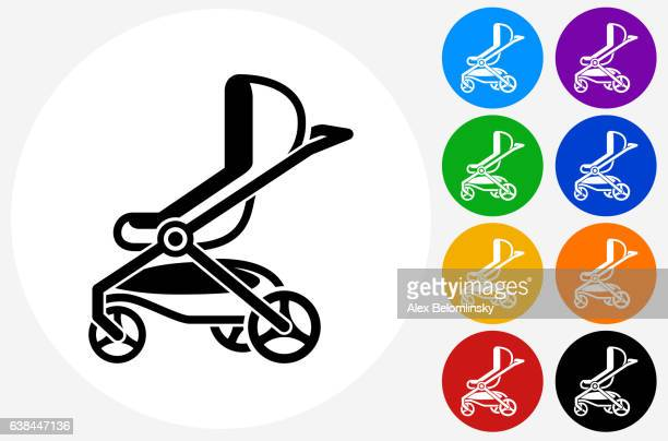 Stroller Icon on Flat Color Circle Buttons