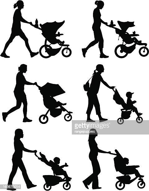 stroller moms - three wheeled pushchair stock illustrations, clip art, cartoons, & icons