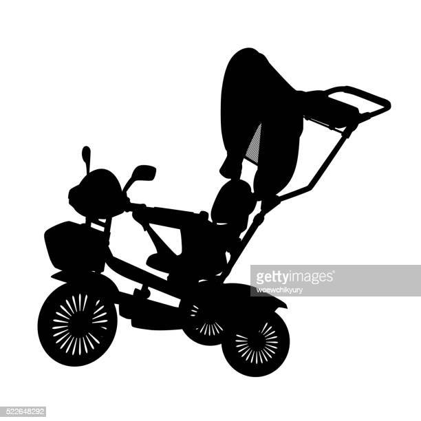 stroller  vector - three wheeled pushchair stock illustrations, clip art, cartoons, & icons
