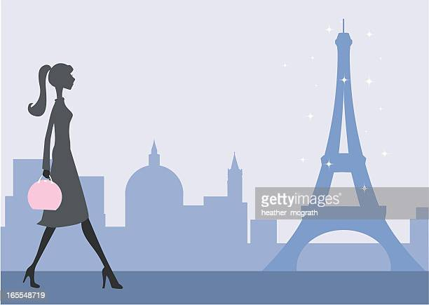 strolling in paris - slim stock illustrations
