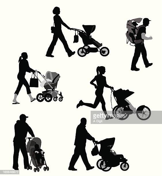 strolling vector silhouette - three wheeled pushchair stock illustrations, clip art, cartoons, & icons