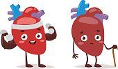 Strong and ill hearts vector illustration.