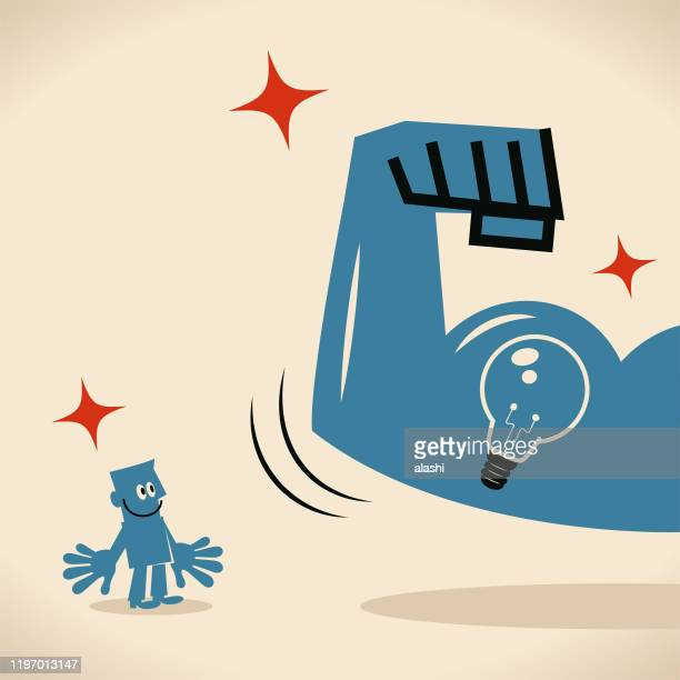 strong arm with biceps showing idea light bulb to blue man - human muscle stock illustrations