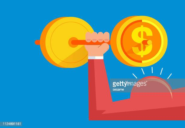 strong arms lift huge gold coins - head above water stock illustrations