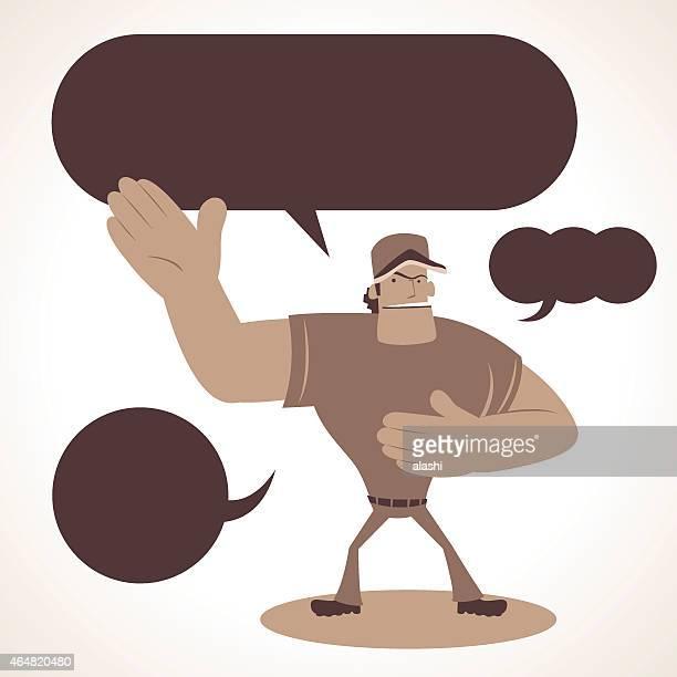 illustrations, cliparts, dessins animés et icônes de strong baseball, donnant une présentation avec main - arbitre de baseball