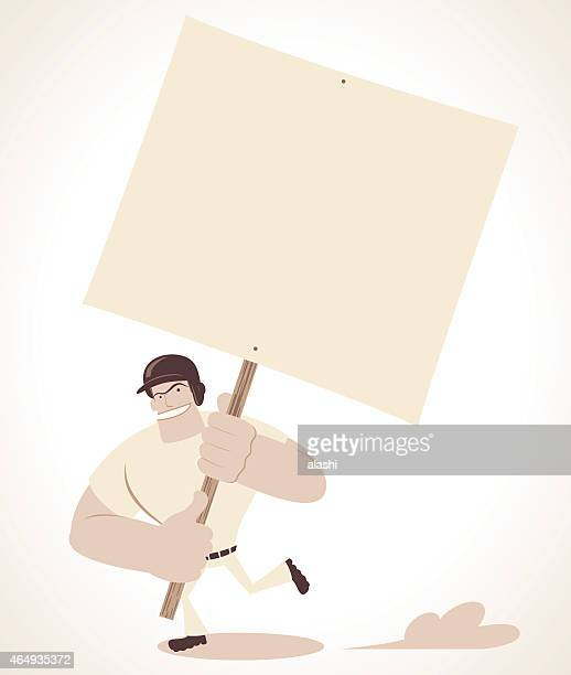 strong baseball player holding a blank sign and running - information symbol stock illustrations, clip art, cartoons, & icons
