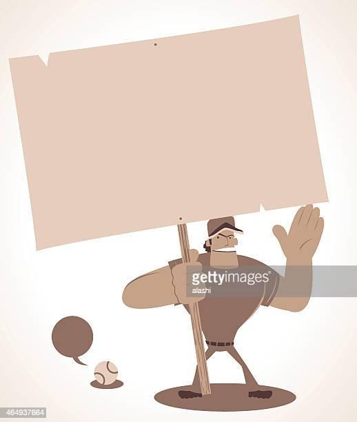 illustrations, cliparts, dessins animés et icônes de strong baseball tenant un panneau vierge et parler - arbitre de baseball