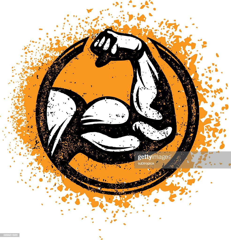 Strong Biceps Workout Gym Sign Vector Rough Concept