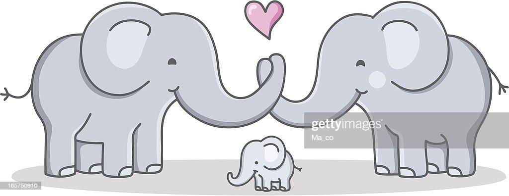 Strong Cohesive Family Cartoon Elephant Love stock vector ...