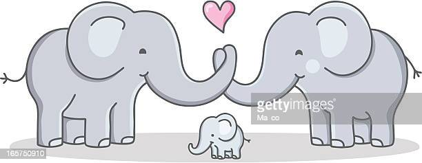 strong cohesive family / cartoon elephant - love