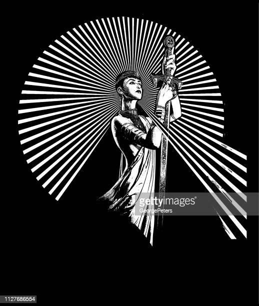strong, confident woman raising sword - heroines stock illustrations