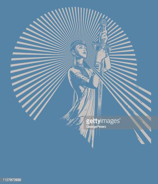 strong, confident woman raising sword - courage stock illustrations