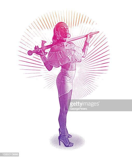 剣を持った強力な自信を持って女性戦士