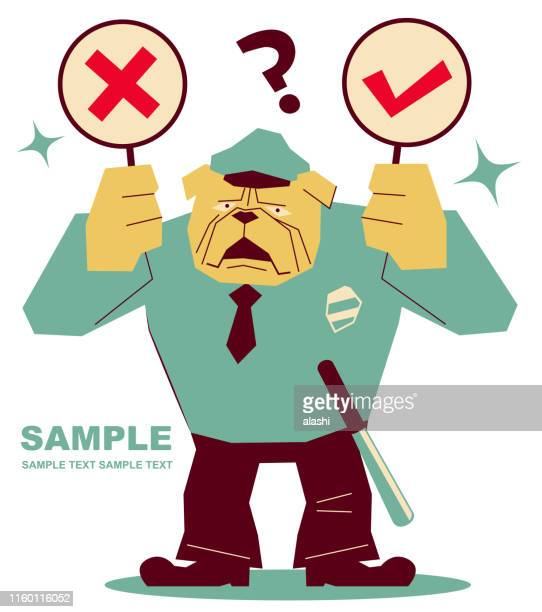 strong dog police officer wearing uniform holding right and wrong sign (true-false question; yes-no question) - wrong way stock illustrations, clip art, cartoons, & icons
