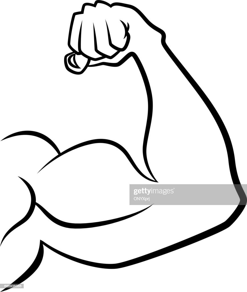 Strong hand with muscles. Vector handdrawn icon