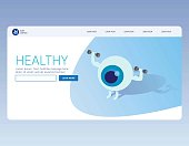 Strong healthy white eye, Medical banner. Healthcare infographic. Landing page concept. Web page 3d isometric.  business vector illustration concept for hospital, clinic, pharmacy