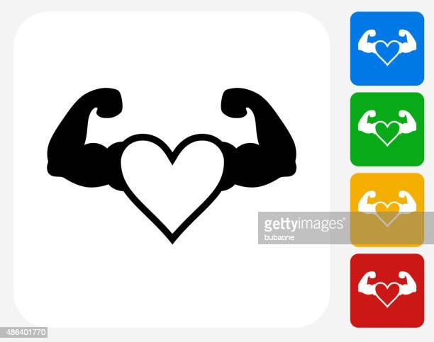 strong heart icon flat graphic design - bicep stock illustrations, clip art, cartoons, & icons