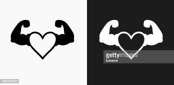 strong heart icon on black and white vector backgrounds - bicep stock illustrations, clip art, cartoons, & icons