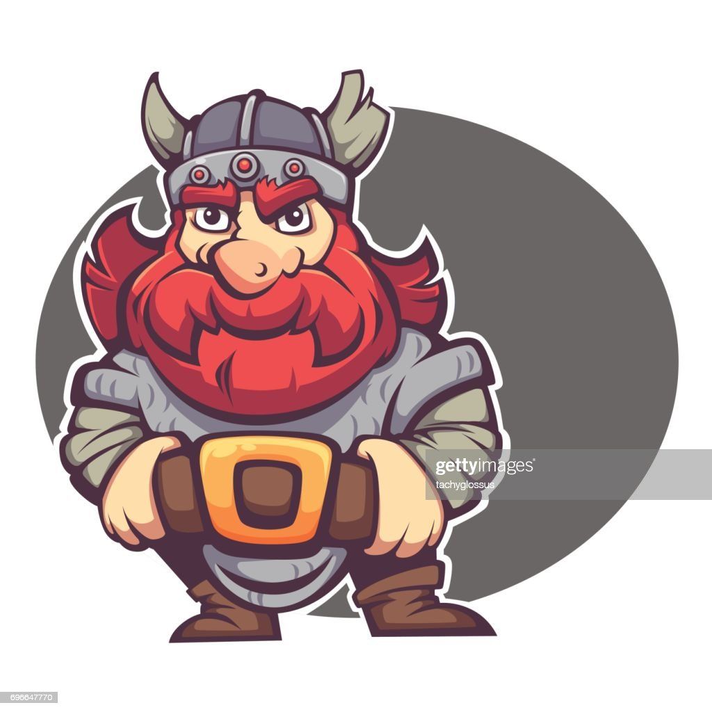 strong hero, vector image of fantasy dwarf or viking