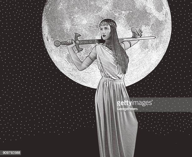 strong, independent woman holding sword and wearing classical grecian dress - goddess stock illustrations, clip art, cartoons, & icons