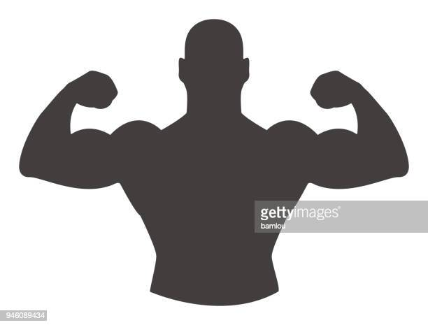 strong man arms up icon - masculinity stock illustrations, clip art, cartoons, & icons