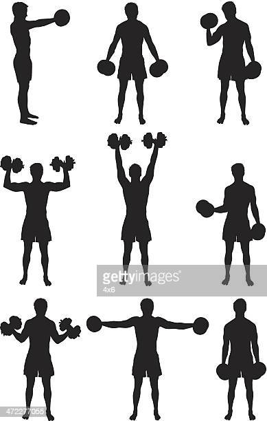 strong man lifting heavy dumbbells - weight training stock illustrations