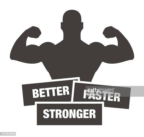 strong man with slogan : better, faster, stronger icon - body building stock illustrations