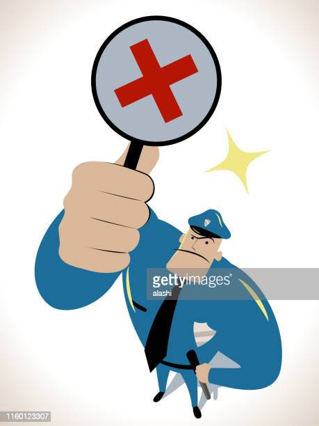 strong police officer looking upward and holding wrong sign - wrong way stock illustrations, clip art, cartoons, & icons