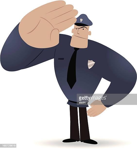 strong policeman saluting - uniform cap stock illustrations