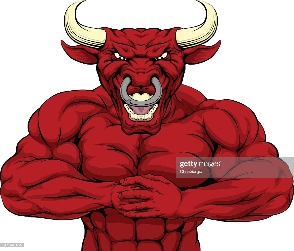 Strong Red Bull Mascot