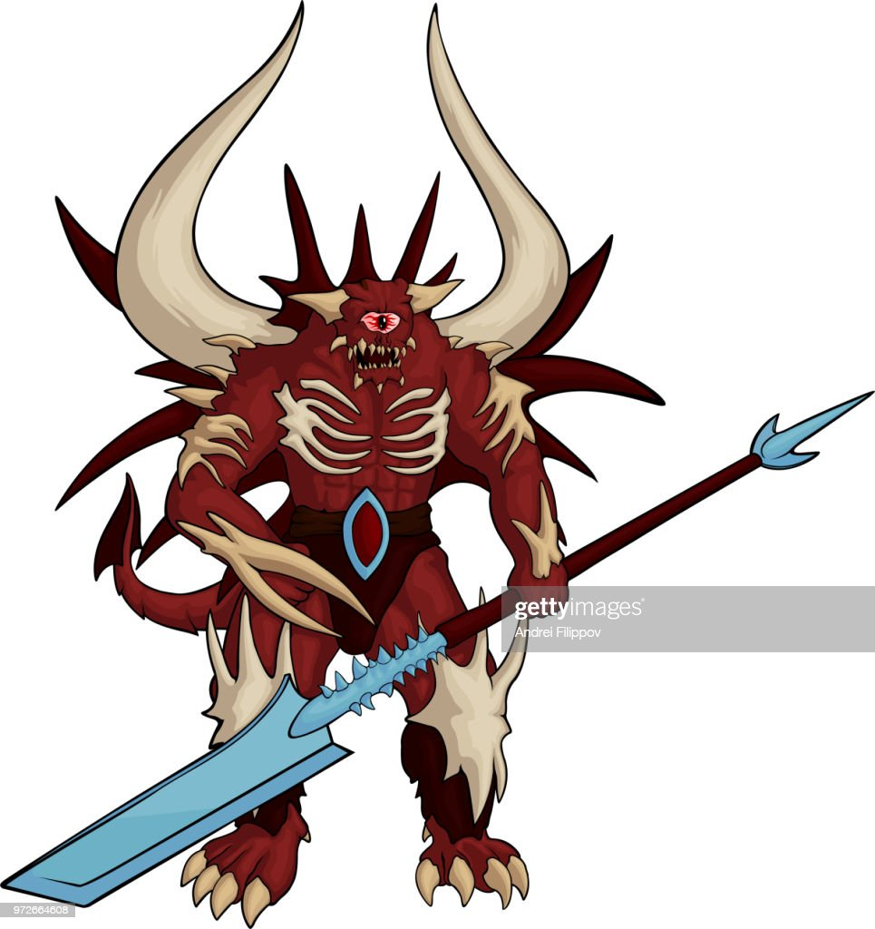 Strong red one-eyed demon