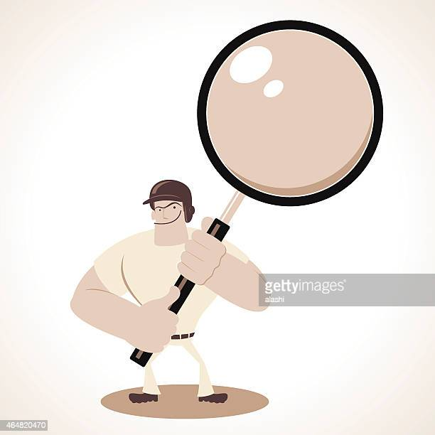 Strong smiling baseball player searching with a magnifying glass