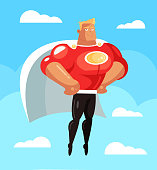 Strong smiling super hero man character fly soar sky. Protection comic book super hero concept. Vector flat cartoon design graphic isolated illustration
