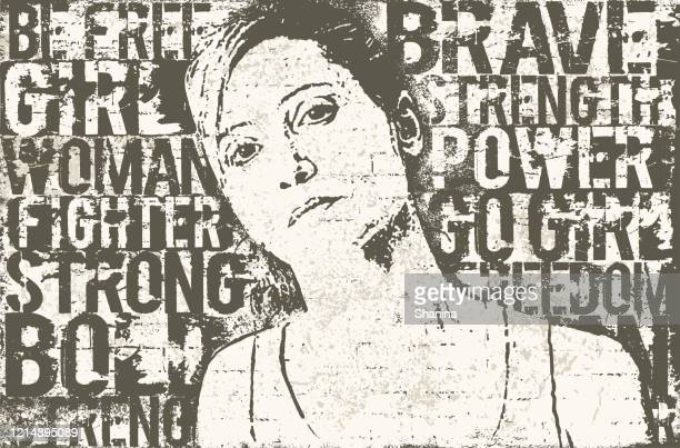 strong woman stencil mural wall art - mural stock illustrations