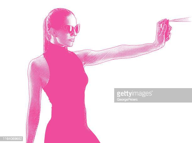strong woman using pepper spray for self defense - pepper spray stock illustrations