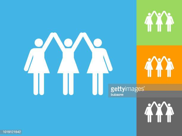 strong women standing flat icon on blue background - girl power stock illustrations