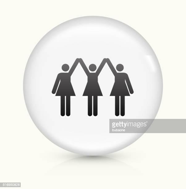 ilustraciones, imágenes clip art, dibujos animados e iconos de stock de fuertes mujeres de pie icono sobre blanco, vector de redondo botón - igualdad de genero