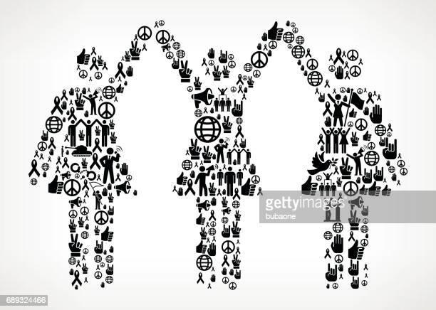 starke frauen stehen protest und bürgerrechte vektor icon hintergrund - piktogramm collage stock-grafiken, -clipart, -cartoons und -symbole