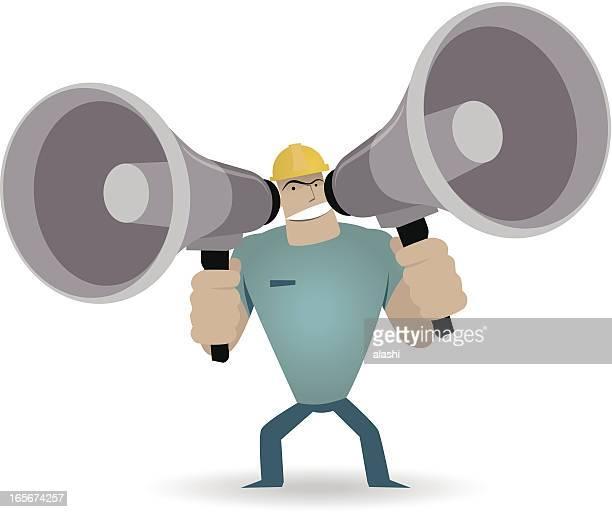 illustrations, cliparts, dessins animés et icônes de strong ouvrier crier abreuvoir deux megaphones - professional occupation