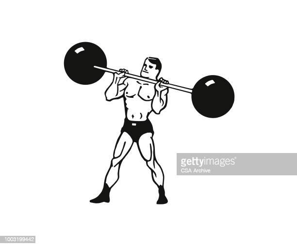 strongman lifting weights - barbell stock illustrations, clip art, cartoons, & icons