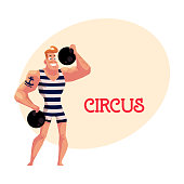 Strongman, strong man circus performer, weightlifter with cannon balls