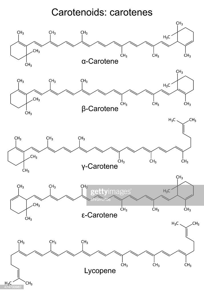 Structural chemical formulas of plant pigments - carotenoids car