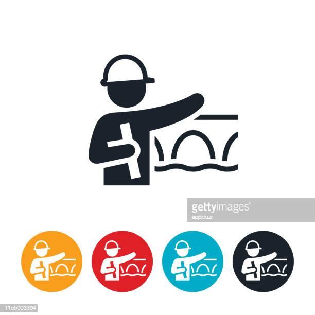 ilustraciones, imágenes clip art, dibujos animados e iconos de stock de icono de ingeniero estructural - ingeniero civil