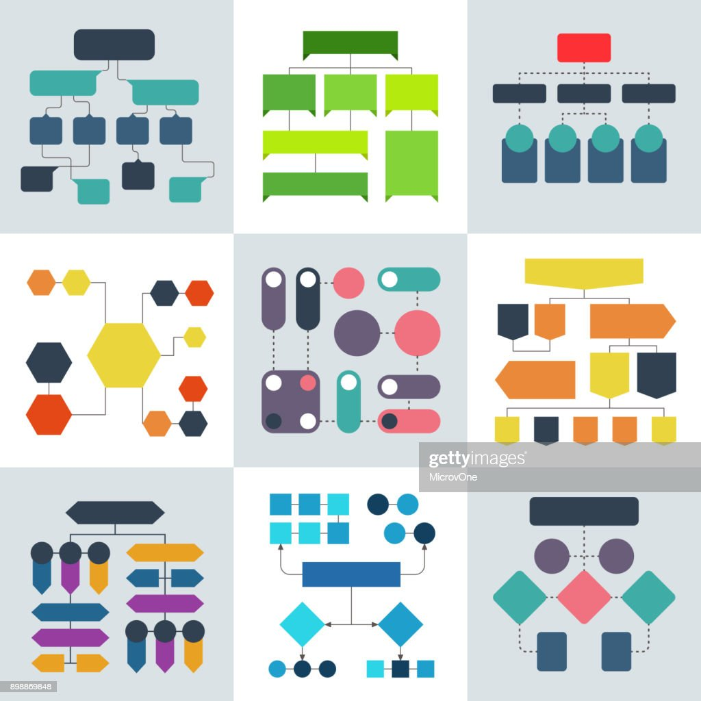 Structural flow diagrams, flowcharts and flowing process structures. Vector infographics elements