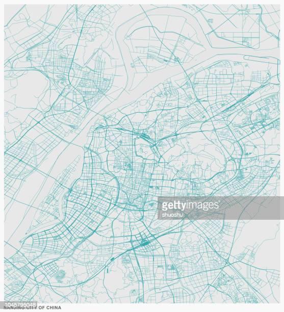 structure line map of nanjing city,china - yangtze river stock illustrations