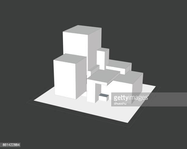 illustrations, cliparts, dessins animés et icônes de schéma de modèle de structure 3d - architecture