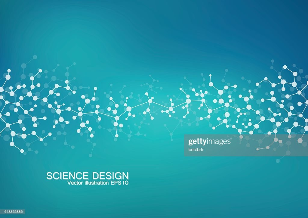Structure molecule of DNA and neurons. Structural atom. Chemical compounds